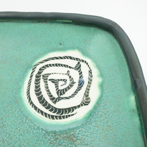 Squared Serving Dish with Patterned Circle