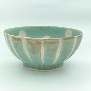 Bowl with Stripe and Dot Design