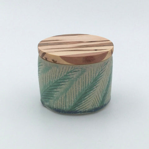 Sustainable Jar for coffee/tea/etc with carved design and wooden lid