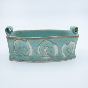 Serving Dish with Rolled Handles Blue with Spiral Pattern