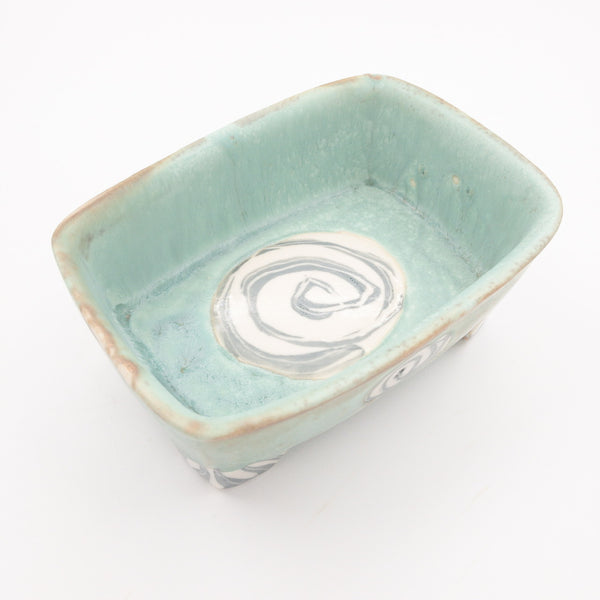 Footed Serving Dish with Patterned Circles