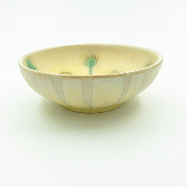 Yellow Bowl with Dot and Stripe pattern