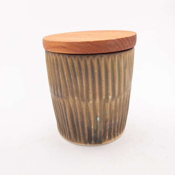 Sustainable Storage Jar for coffee/tea/etc with carved pattern