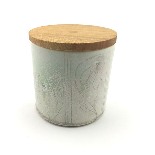 Sustainable Jar for coffee/tea/etc with Carved Flower Design