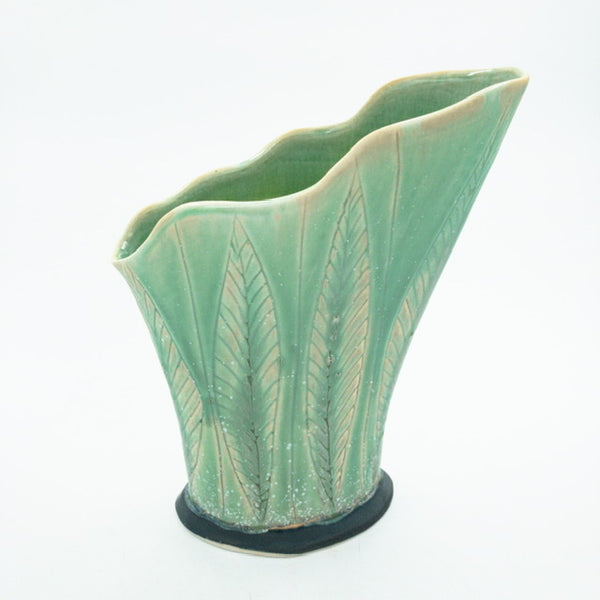 Scalloped Vase with Leaf Pattern