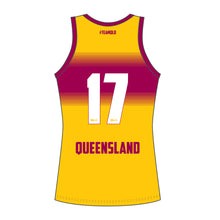 Load image into Gallery viewer, Hockey Queensland Ladies Gold Singlet