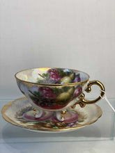 Load image into Gallery viewer, Coffee cup and saucer hand painted