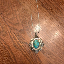 Load image into Gallery viewer, large silver and turquoise medallion necklace