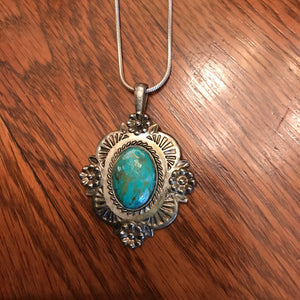 large silver and turquoise medallion necklace