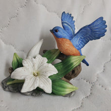 Load image into Gallery viewer, Seymour-Mann-Connoisseur-Collection-Bluebird-and-Lily-Porcelain-Bird-By-Bernini