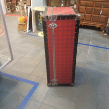 Load image into Gallery viewer, Vintage red plaid trunk 31x16x12