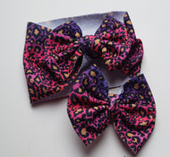Pink/Purple Cheetah Bow -30% Halloween/Fall Discount (RTS)