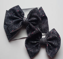Load image into Gallery viewer, Spider web splatter Shylyn Bow -30% Halloween/Fall Discount (RTS)