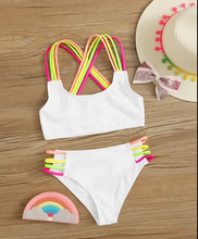 Load image into Gallery viewer, GIRLS MULTI COLOR STRAP BIKINI SET