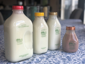 Glass bottle = $1.50 deposit. We love the old fashion idea of using glass to store milk in, instead of plastic.