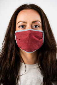 Kingsted Face Covers - 5 for $25 (Adult, Burgundy/Grey) 50/50 Blend