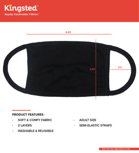 Kingsted Face Covers- 10 for $40 (Adult, Black) 50/50 Blend