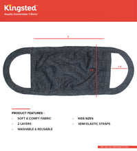 Load image into Gallery viewer, Kingsted Kids Face Covers - 5 for $25 (Black Heather) 50/50