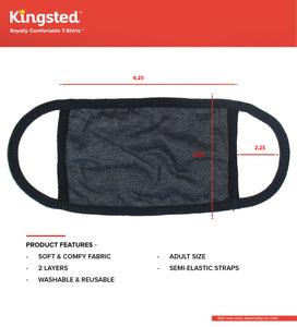 Kingsted Face Covers Oxford/Black - 5 for $25 (Adult Large) 50/50 Blend