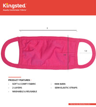 Load image into Gallery viewer, Kingsted Kids Face Covers - 5 for $25 (Fuchsia) 50/50