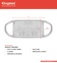 Load image into Gallery viewer, Kingsted Face Covers - 5 for $25 (Adult, White) 50/50 Blend