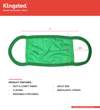 Load image into Gallery viewer, Kingsted Face Covers- 5 for $25 (Adult, Green) 50/50 Blend