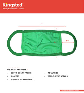 Kingsted Face Covers- 5 for $25 (Adult, Green) 50/50 Blend
