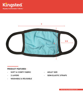 Kingsted Face Covers - 5 for $25 (Adult, Turquoise) 50/50 Blend