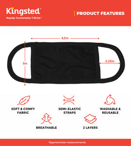 Kingsted Face Covers in Black - 5 for $25 (Adult, Large) 50/50 Blend