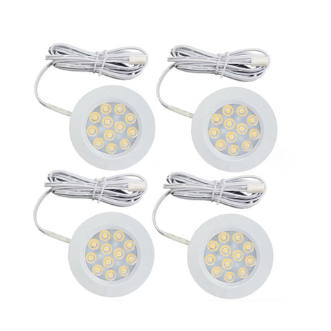 Dimmable 12V 3W LED Under Cabinet Lights Closet Light Surface Mount LED Display Case Lights Bookshelf Kitchen Showcase Puck Lamp