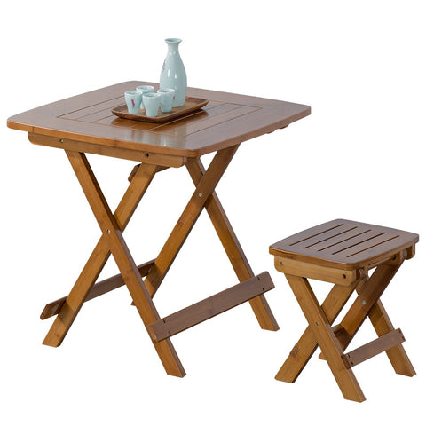 The Portable Folding Table Bamboo Wood Contemporary And Contracted Small Family Eat Table Home Leisure Square Table