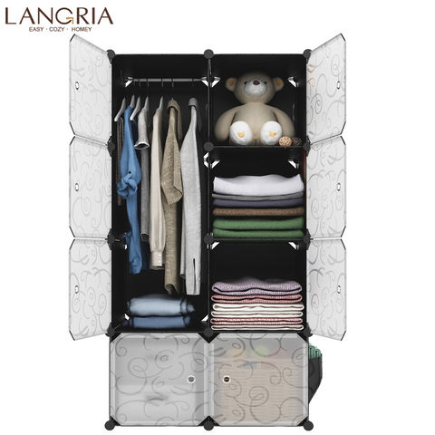 LANGRIA 8 Cube Non-woven Cloth Modular Wardrobe Extra Capacity available Multiuse Closet Storage Embossing Doors Home Furniture