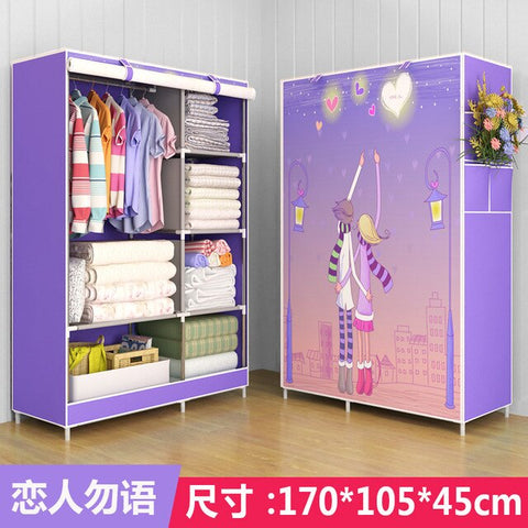 Brief Fabric bedroom organizer  clothing closet  storage closet minimalist modern  dress rack modern wardrobe folding furniture