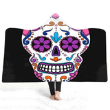 Colored skull Hooded Blanket Bed sofa throw Hooded Blanket Wearable Fleece Hoodie TV Blankets Cloak For Adults Men Women