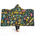 Hooded Blanket Woman Popular Fashion Colorful Wolf 3D print Wearable Travel Adult Soft Throw Blankets Bedding Portable