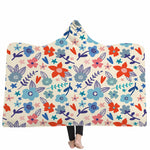Flowers Fleece Wearable Blankets,Colorful Floral Hooded Blanket Sherpa Blanket, Mens Women Thick Double Layer Throws with Hood