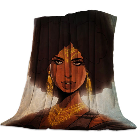 Retro African Woman Throw Blanket Soft Warm Microfiber Blanket Flannel Blanket