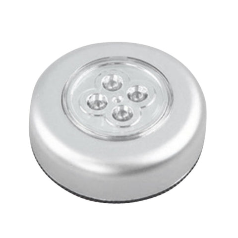 4 LED Touch Control Night Light Round Lamp Under Cabinet Closet Push Stick On Lamp Home Kitchen Bedroom Automobile Use