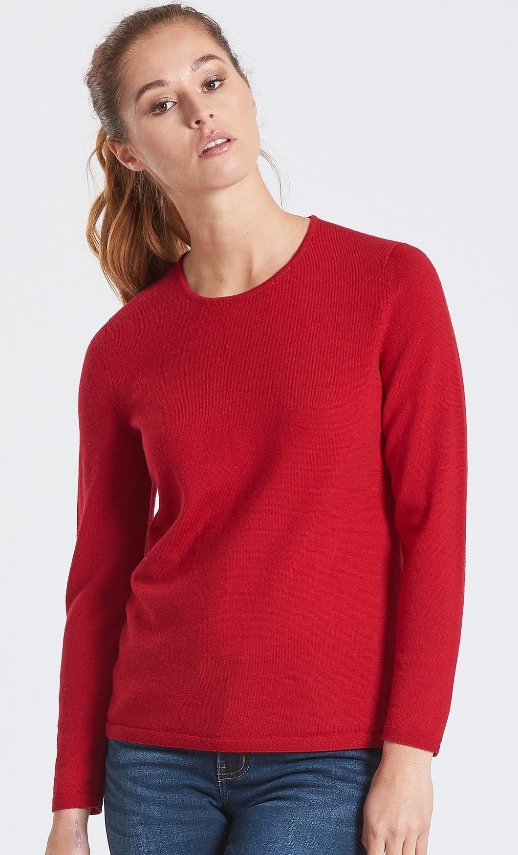 Classic Crew Neck Wool Jumper -Tamarillo