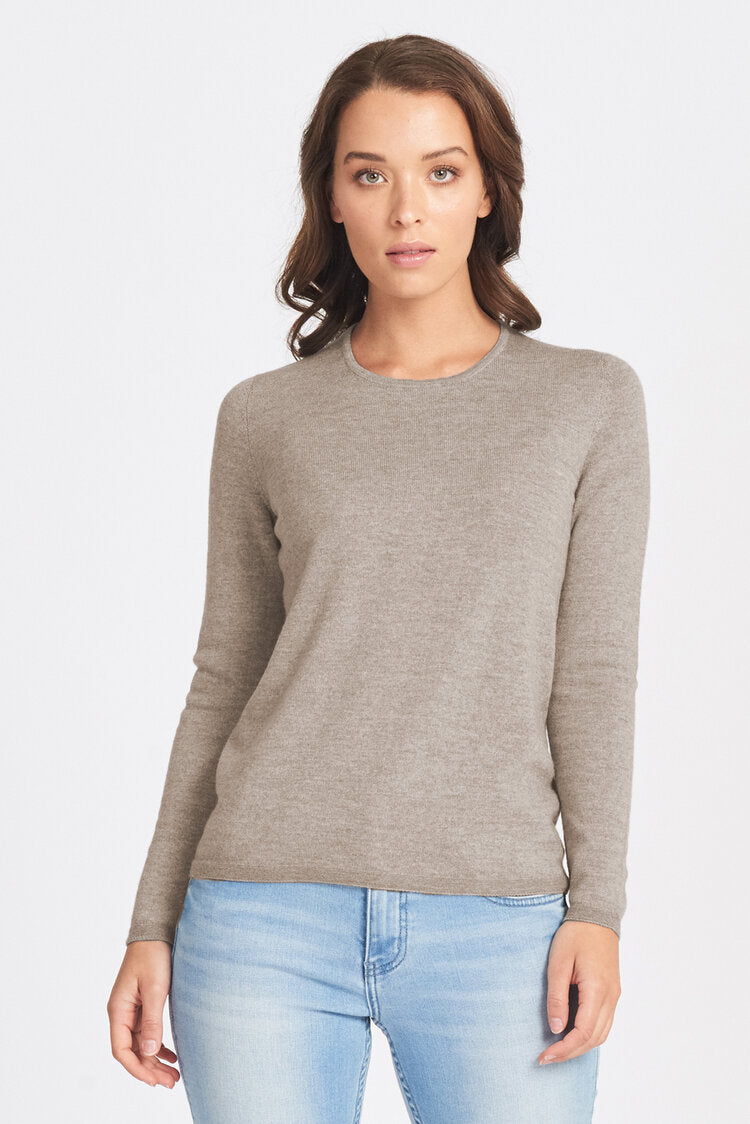 Classic Crew Neck Wool Jumper - Sand