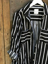 Load image into Gallery viewer, HUT Oversized Linen Shirt - Black & White Stripe
