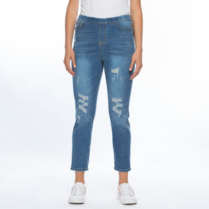 Threadz Denim Distressed Pull On Jean