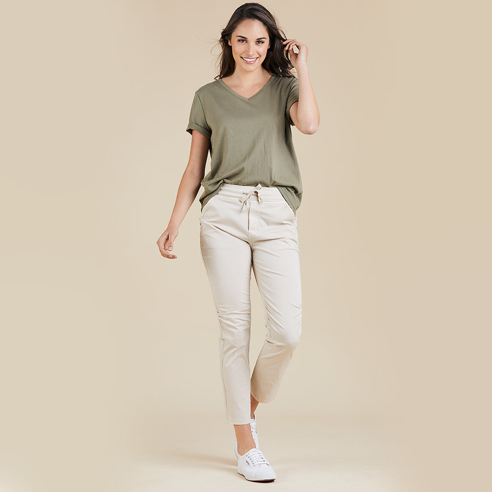 Threadz  Cotton Jogger Pant - Natural