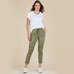 Threadz  Cotton Jogger Pant - Khaki