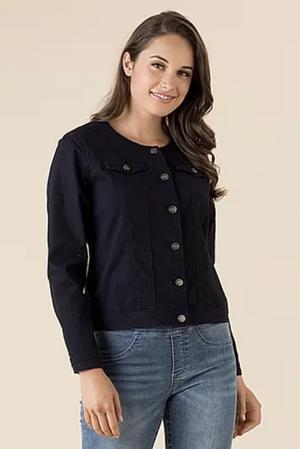 Threadz Collarless Jacket - Navy
