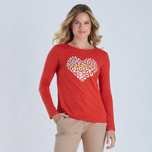 Load image into Gallery viewer, Threadz Sequin Foil Heart  L/S Tee - Orange