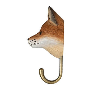 Hand Carved Wall Hook - Red Fox