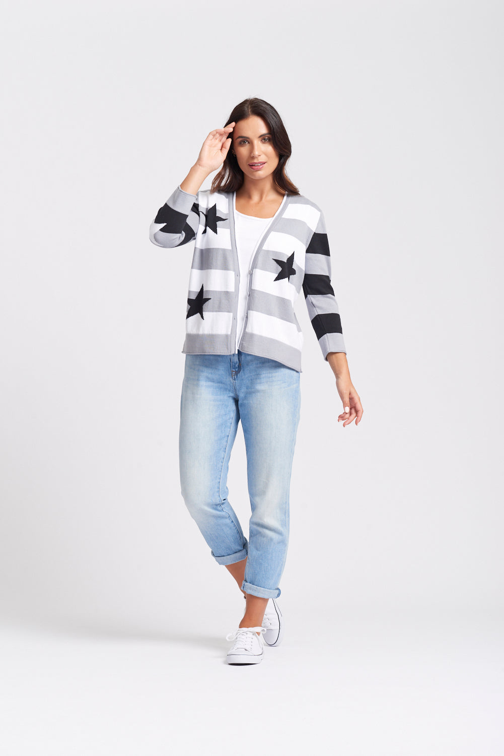 100% Cotton Stars & Stripes Cardigan - Silver