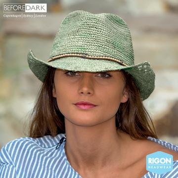 Alexia Crocheted Raffia Cowboy Hat - Mist Green