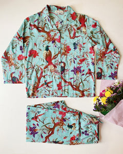 Cotton Pyjamas - Long Set - Bird Print Aqua
